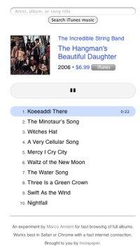 Preview.fm: previsualiza cualquier album de iTunes rapidamente