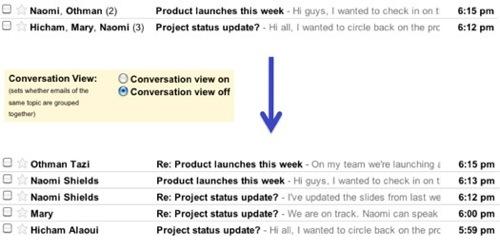 Desactivar las conversaciones en Gmail