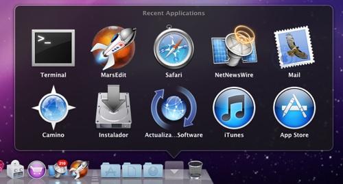 Cómo añadir al dock un stack de aplicaciones, documentos o servidores recientes
