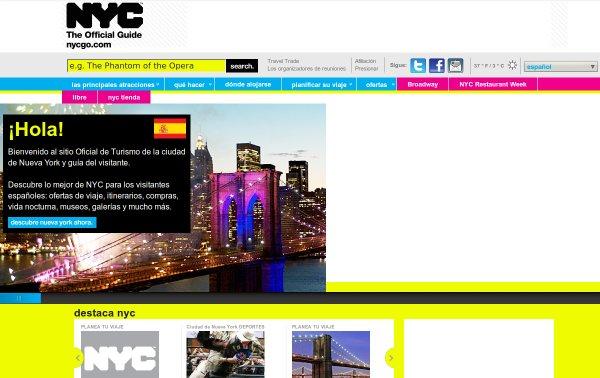 Nueva York incorpora el español a su web turística