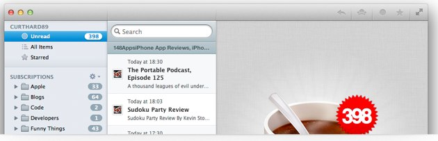 Caffeinated  Beautifying Google Reader on Mac