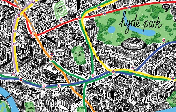 Plano Londres dibujado mano
