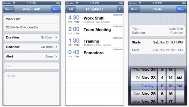 Calendar Paste, plantillas reutilizables para tus calendarios iOS