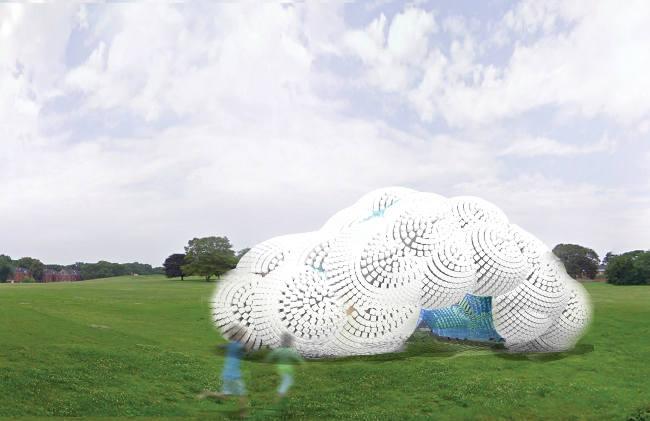 Un pabellón hecho con miles de botellas de plástico recicladas