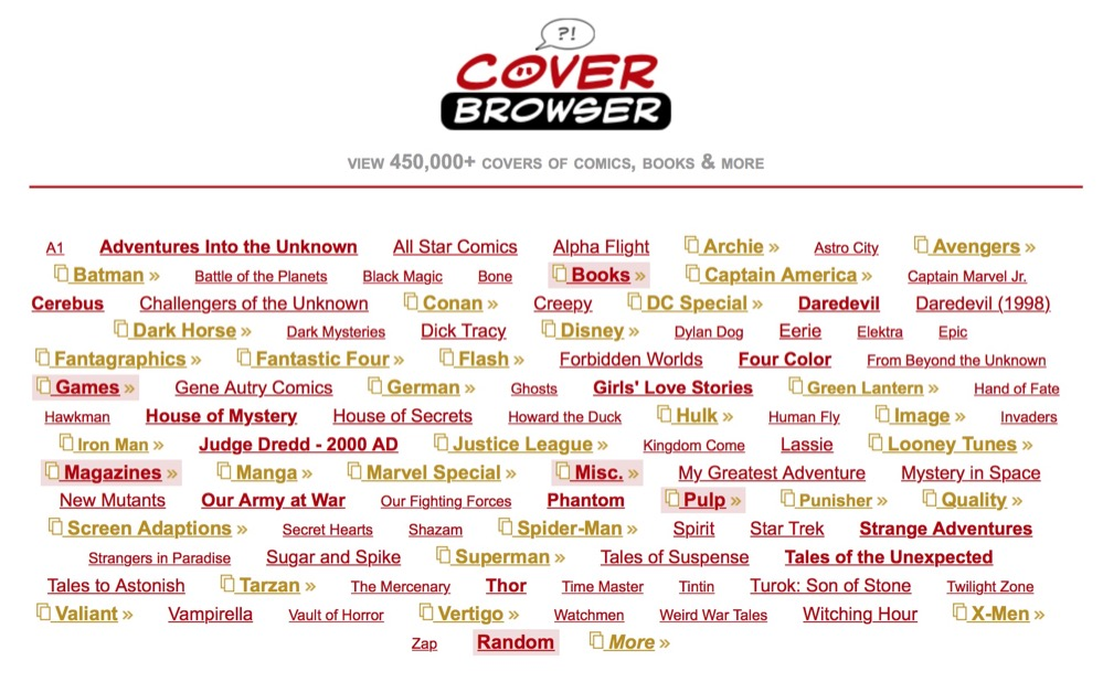 Cover Browser, buscador de portadas de comics