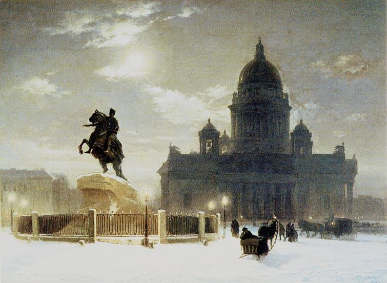 El Caballero de Bronce de San Petersburgo colocado sobre la monumental Piedra del Trueno