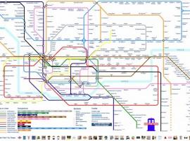 Timeline del Dr. Who como un plano del Metro