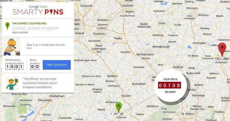 Smarty Pins, el trivial de Google Maps