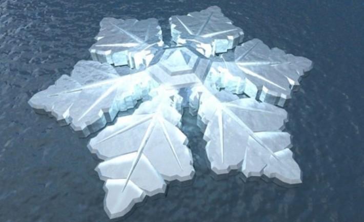 Fantastico hotel artico forma cristal hielo