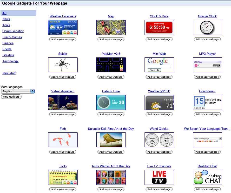 Google Gadgets para tu blog o web
