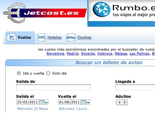 Jetcost, otro comparador de vuelos y hoteles