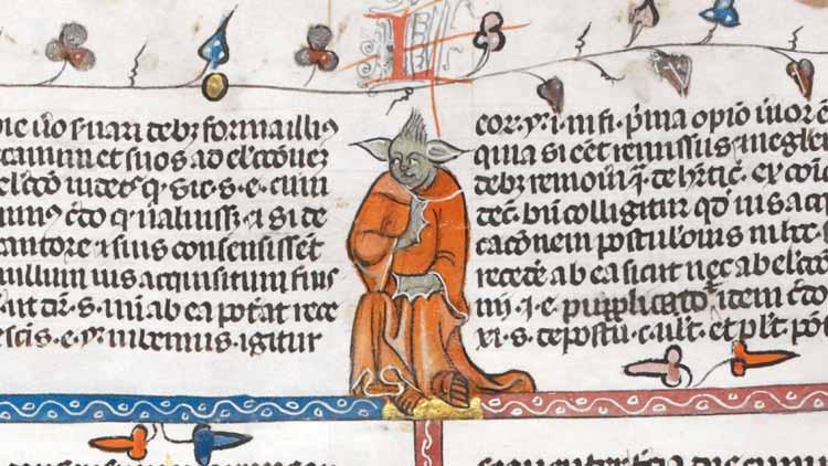 La imagen del maestro Yoda aparece en un manuscrito del siglo XIV