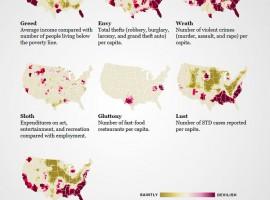 Mapa de los siete pecados capitales en EEUU