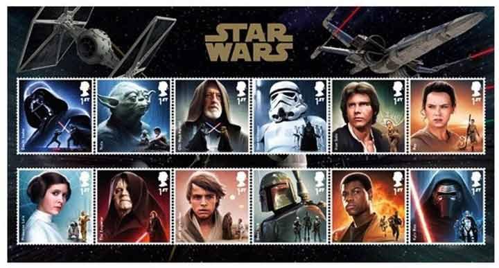 Los sellos de correos de La Guerra de las Galaxias del Royal Mail