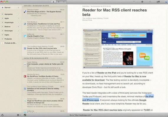 Reeder para mac beta ya disponible