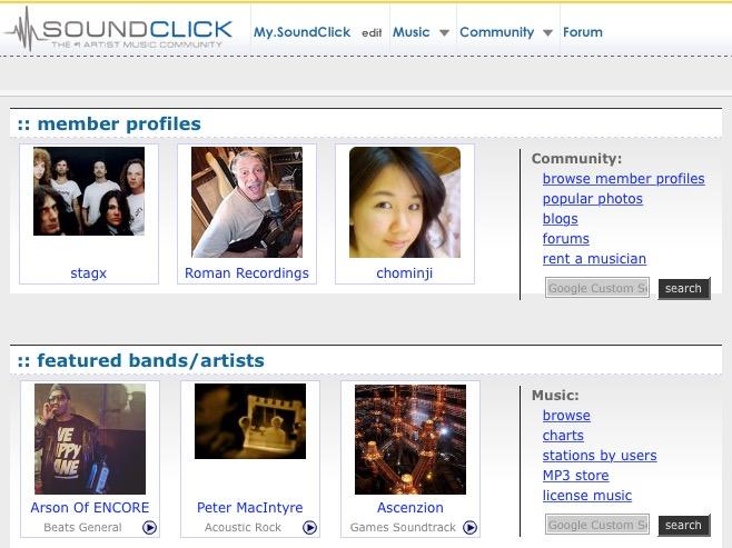 Soundclick, música con licencia Creative Commons