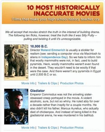 Las 10 películas más inexactas historicamente
