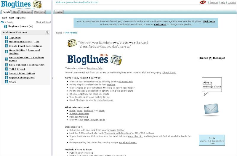 Usando Bloglines (o como seguir la pista a docenas de blogs, news, fotos y podcasts)